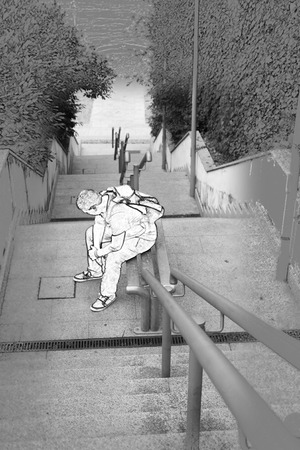 37206838 - men sissappointed sitting on stairs, comic style